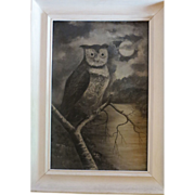 SOLD Antique Victorian Painting Halloween Owl
