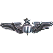 "SOLD Vintage 3"" Wwii Army Senior Pilot Star Wings H&H Sterling"
