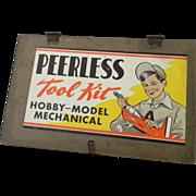 1950's Peerless Tool Kit Wood Box