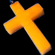 Butterscotch Bakelite Cross Pendant