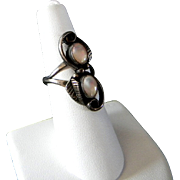 Size 6 1/2 Sterling Silver and Mother of Pearl Native American Ring