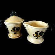 Metlox Poppytrail Green Rooster Creamer and Lidded Sugar Bowl