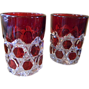 """Two Red Ruby Flash Early American Pattern Glass Tumblers """"Block Beveled Buttons"""""""