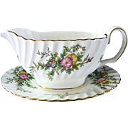"Minton ""York"" Pattern Gravy Boat w/ attached Underplate"