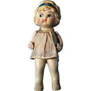 Bisque Flapper Googly Eye Doll w/ Butler Stand and Original Dress