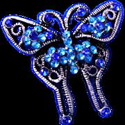 Lovely Blue Rhinestone Butterfly Brooch or Broach