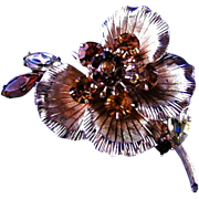 Beautiful Amber and Gold Colored Flower Brooch or Broach
