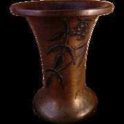 Heintz Art Metal Bronze Vase With Silver Overlay