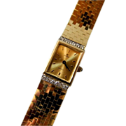 SOLD Beautiful  14 K Gold and Diamond Cyma Ladies Wrist Watch