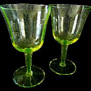 Two Royal Benton Crystal Yellow Wine Glasses