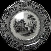 1840's Black Transfer J. Clementson Ironstone Dish