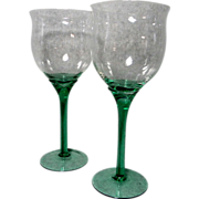 2  Green Stemmed Red Wine Glasses by Libby