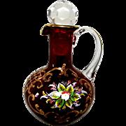 Wonderful Red Bohemian Glass Hand Painted Cruet