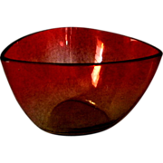 Amberina Triangular Bowl