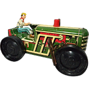 Marx Litho Tin  Toy Tractor with Driver