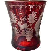 SOLD 2 Different Bohemian Cut Glass Ruby Bud Vases