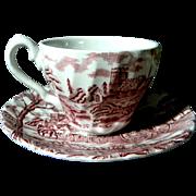 "Myott Staffordshire Demitasse Cup & Saucer Red Transferware ""Royal Mail"""