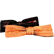 Two vintage Clip - On Thin Bow Ties