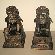 Pair Chinese Bronze Fu Lions