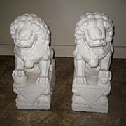 Pair Chinese Carved White Marble Fu Lions