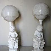 Pair of Italian Marble Statuary Lamps