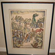 """Print of """"Fiddler on the Roof"""" by Goldberg"""