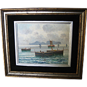 Small Seascape Oil Painting with Boats by Petrilli