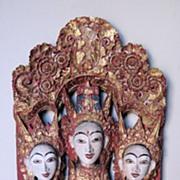 Elaborate Thai Wood Panel of Three Buddhist Figures