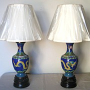 Pair of Early 20th C. Chinese Cloisonné Lamps