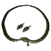Exquisite Green Enameled Snake Necklace & Earrings