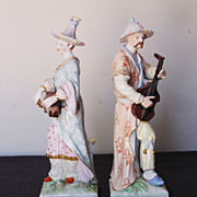 Pair of KPM Porcelain Figurines of Male and Female Musicians