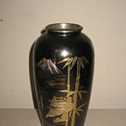 Small Japanese Bronze Vase with a Scene of Mt. Fuji