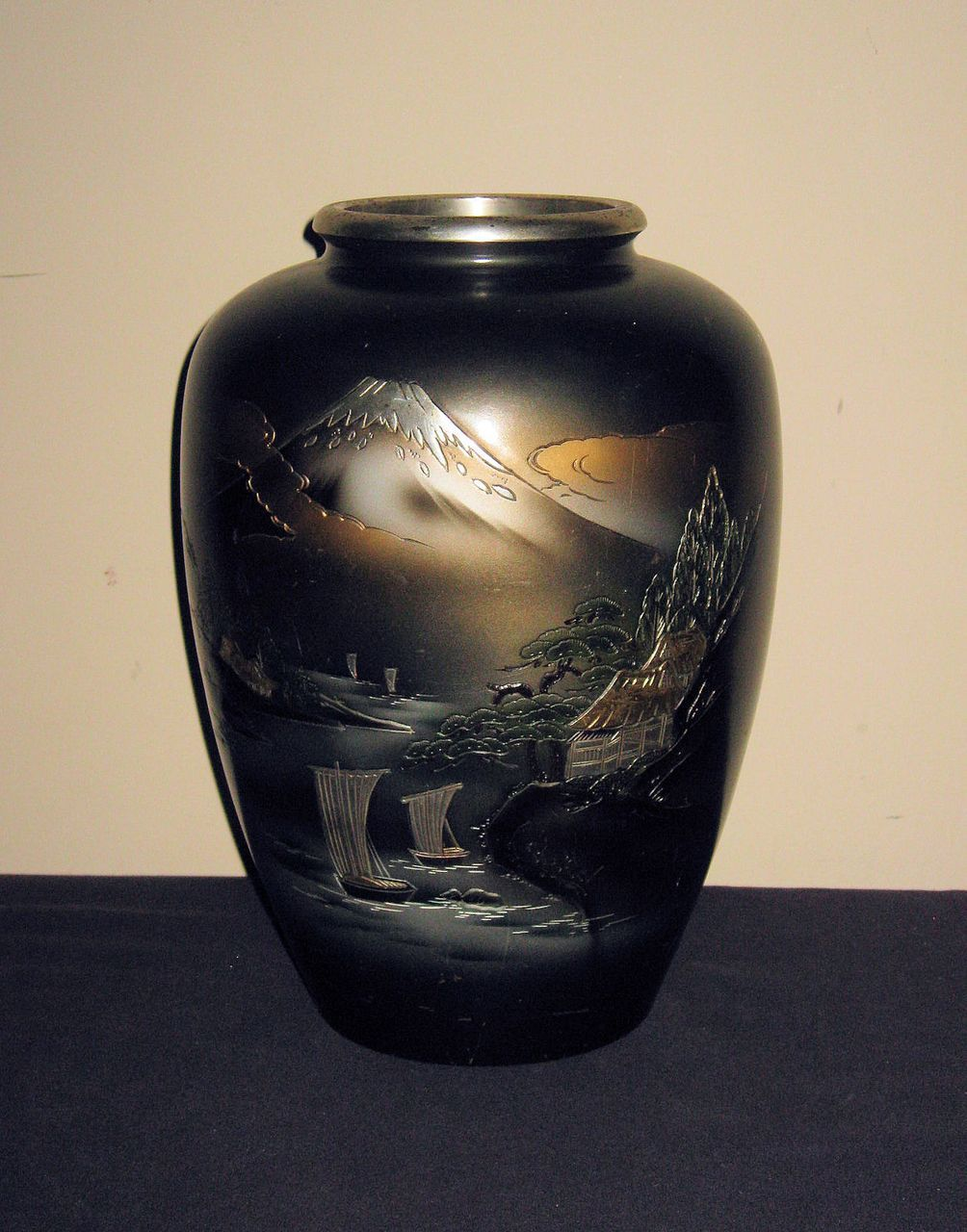 Large Old Japanese Bronze Vase With Mt Fuji From