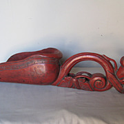 Antique Chinese Red-Lacquer Rice Scoop