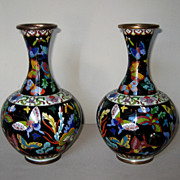 Chinese Pair of Butterfly Cloisonné Vases