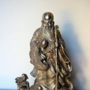 Chinese Silver Shou-Lao Riding a Tortoise