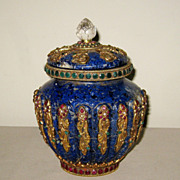 Jeweled Tibetan Lapis Lazuli Covered Jar