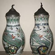 Pair of Superb Chinese Kangxi Famille Verte Porcelain Cisterns