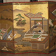 "Antique Japanese Six-Panel Screen ""Tales of Genji"""