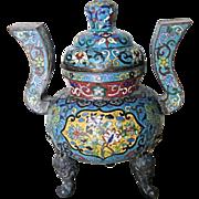 Chinese Antique Cloisonné Tripod Censor