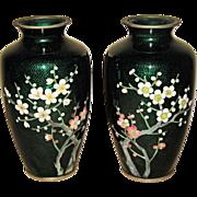 Pair of Japanese Cloisonné Green Enamel Vases