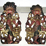 Pair of Chinese Plaques with Dancing Figures & Fu Lions