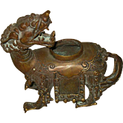 Antique Chinese Bronze Qilin Censor
