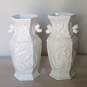 Pair of Chinese Fujian White-ware Hexagonal Vases