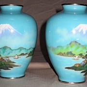 Pair of Sensational Japanese Musen Cloisonné Vases