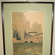 "Woodblock Print ""Willow and Stone Bridge"" by Hiroshi Yoshida, 1926"
