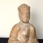 Chinese Eastern Han Dynasty Seated Pottery Musician