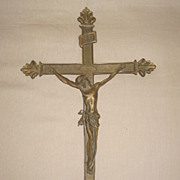 Superb Chinese Bronze Cross with Christ Sculpture