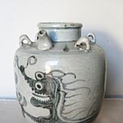 19th C.  Chinese Swatow Porcelain Kendi Jar