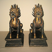 Chinese Pair of Gilt Bronze Qilin Guardians
